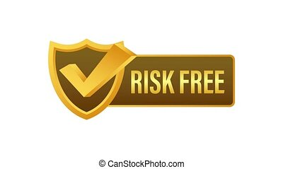 Risk free, guarantee label on white background. Motion graphics.