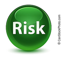 Risk glassy soft green round button