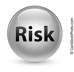 Risk glassy white round button