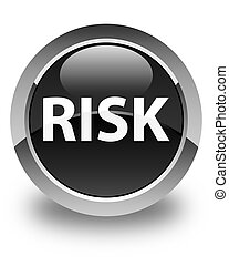 Risk glossy black round button