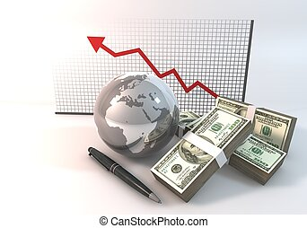 Risk Graph Business Concept 3d rendering with 100 dollar money World on white background