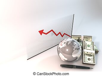 Risk Graph Investment Concept 3d rendering with 100 dollar money World on white background