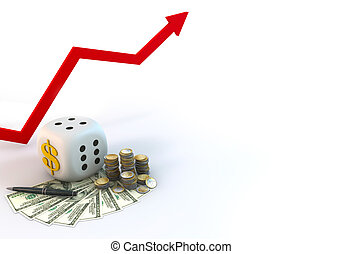 Risk Graph of Business Dice with Dollar bill on white background
