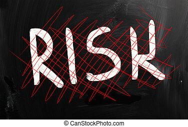 """Risk"" handwritten with white chalk on a blackboard"