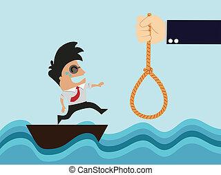 risk., homme affaires, sea.businessman, bateau