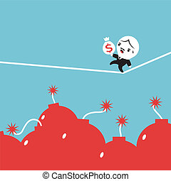 Businessman carry money bag walking on tightrope, Equilibrist