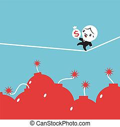 Risk in Business - Businessman carry money bag walking on...