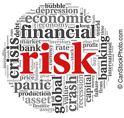 Risk in economy and finance concept on white