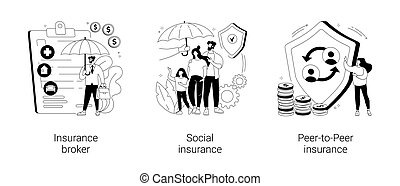 Risk insurance abstract concept vector illustrations.