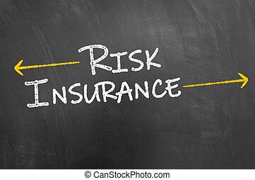 Risk insurance text on blackboard or chalkboard