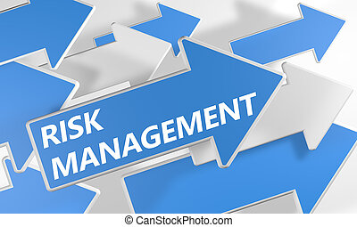 Risk Management 3d render concept with blue and white arrows...