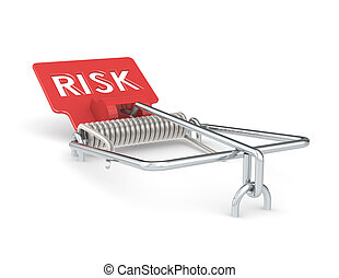 Risk Management. - Abstract Mouse Trap with Red Risk Sign.
