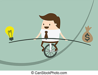 Risk management - Business man balancing on the rope with...