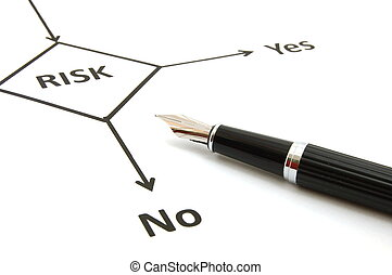risk management chart and pen showing business concept...