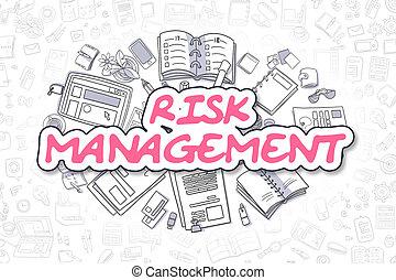 Risk Management - Doodle Magenta Word. Business Concept.