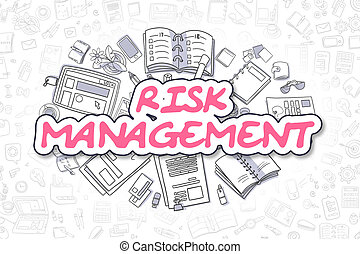 Risk Management - Doodle Magenta Word. Business Concept.