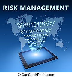 Risk Management illustration with tablet computer on blue ...