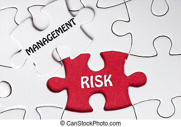 Risk Management. Missing jigsaw puzzle pieces with text.