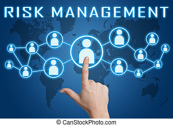 Risk Management concept with hand pressing social icons on...