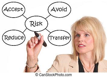 Risk management - Female executive drawing a risk management...