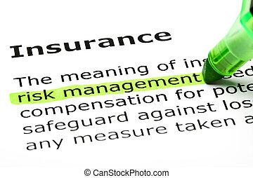'risk, management', světelné zvýraznění, pod, 'insurance'