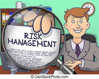 Risk Management through Magnifying Glass. Doodle Concept.