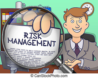 Risk Management through Magnifying Glass. Doodle Concept.