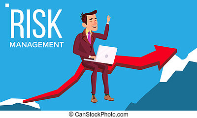 Risk Management Vector. Businessman Sitting With Laptop On Red Arrow Like Bridge Between Two Rocks. Illustration