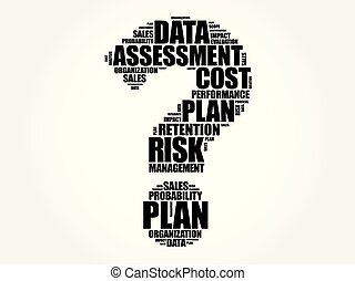Risk Management word cloud in shape of question sign,...
