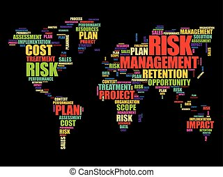 Risk Management word cloud in shape of World Map, business...