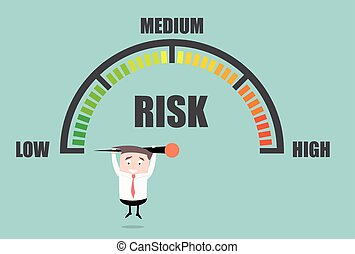 detailed illustration of a person hanging on a risk meter, eps10 vector