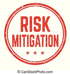 Risk mitigation grunge rubber stamp on white background,...