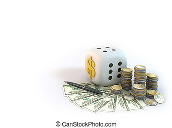 Risk of Business Dice with Dollar bill on white background