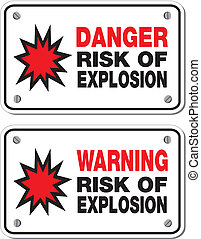 risk of explosion - rectangle sign - suitable for warning...