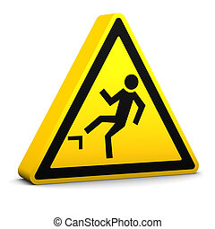 Risk of Falling Sign - Risk of falling yellow sign on a...