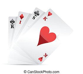 risk poker card hand illustration design over white