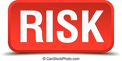 Risk red 3d square button isolated on white