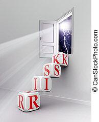 risk red word blocks stair in room