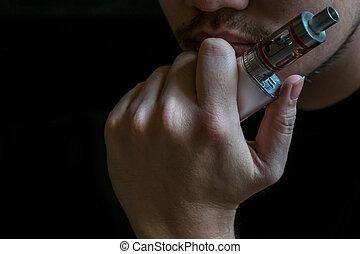 risk., sûr, cigarette., il, communauté, santé, caché, controversé, fumer, vaping, debatable, homme, électronique, ou, identité, si