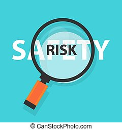 risk safety concept business analysis magnifying glass symbol