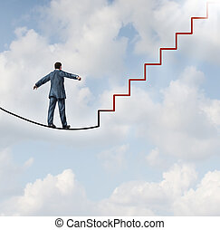 Risk solutions and adapting to change as a business idea with a businessman walking on a dangerous high wire tightrope that transforms into a red staircase leading to a clear path to future opportunity and success.
