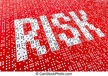 RISK spelled with dice 1