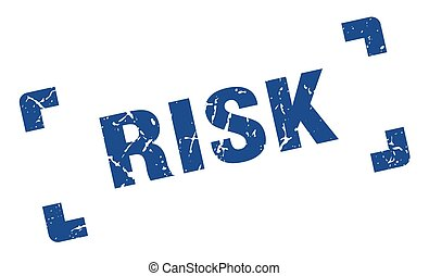 risk stamp. square grunge sign isolated on white background