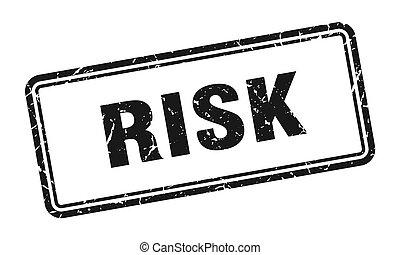 risk stamp. square grunge sign on white background