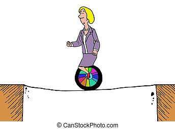 Risk Taker - Business cartoon of businesswoman riding a...