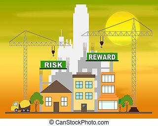 Risk Vs Reward Strategy Building Depicts The Hazards In Obtaining Success - 3d Illustration
