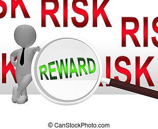 Risk Vs Reward Strategy Magnifier Depicts The Hazards In Obtaining Success - 3d Illustration