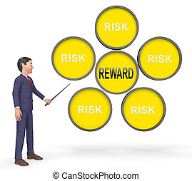 Risk Vs Reward Strategy Signs Depicts The Hazards In Obtaining Success - 3d Illustration