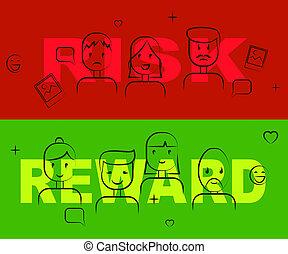Risk Vs Reward Strategy Words Depicts The Hazards In Obtaining Success - 3d Illustration