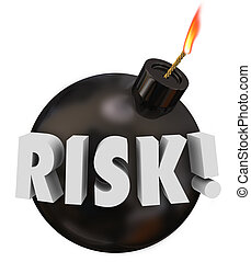 Risk Word Black Round Bomb Danger Warning Potential Problem...